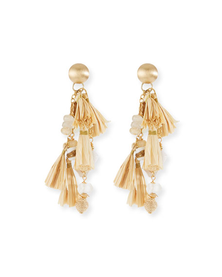 Akola Natural Cluster Raffia Tassel Drop Earrings