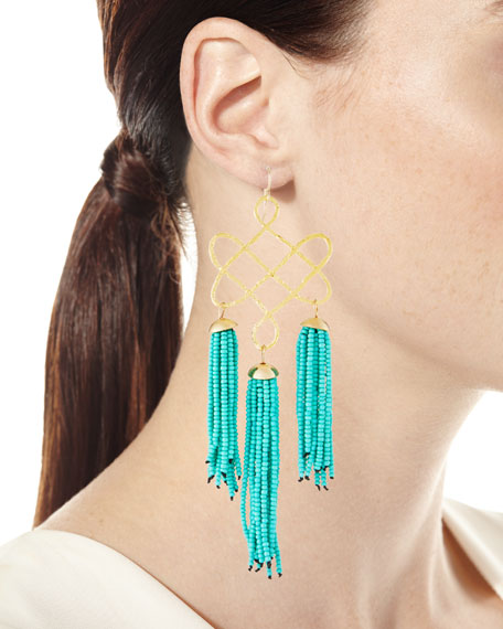 Trellis Tassel Earrings, Turquoise