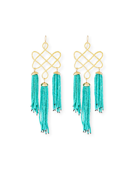 Devon Leigh Trellis Tassel Earrings, Turquoise