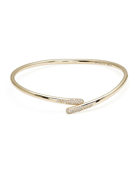 Ippolita 18K Gold Stardust Bypass Hinged Bangle Bracelet