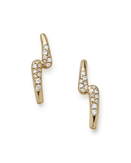 18K Gold Stardust Lightning Bolt Earrings with Diamonds