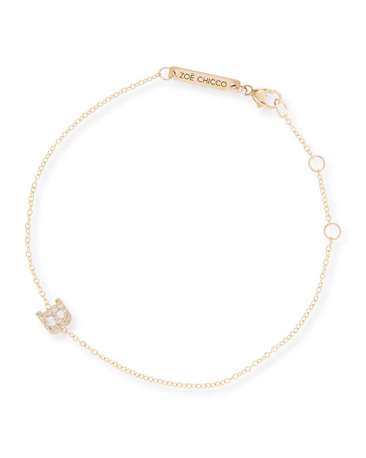14k Pave Diamond Single Initial Bracelet
