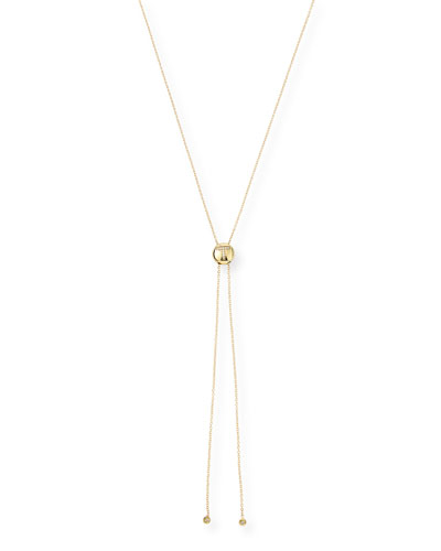 14k Gold Personalized Pave Diamond Initial Bolo Necklace