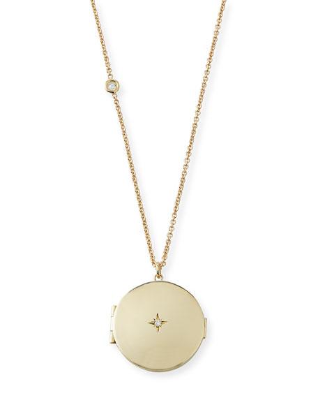 14k Star Diamond Locket Necklace