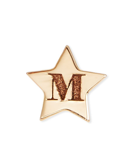 14K Initial Tiny Star Stud Earring