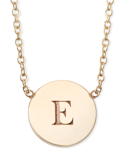 14k Personalized Initial Engraved Disc Pendant Necklace