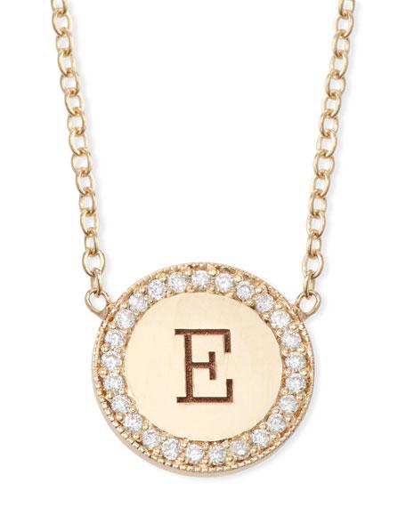 14k Personalized Initial Disc Pendant Necklace w/ Diamonds