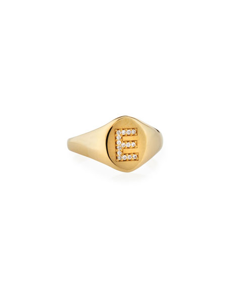 Personalized 14k Gold Pavé Initial Signet Ring