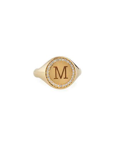 Personalized Initial 14k Gold  Diamond Halo Signet Ring