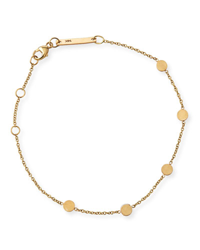 14k Bitty Round Disc Station Bracelet
