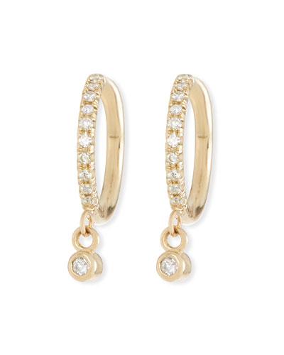 14k Diamond Huggie Hoop Drop Earrings