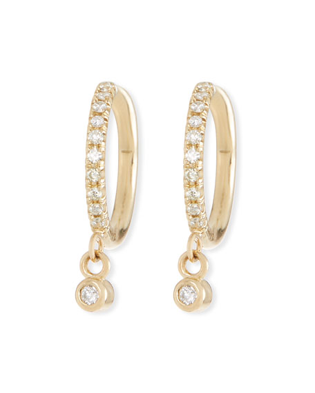 Zoe Chicco 14k Diamond Huggie Hoop Drop Earrings