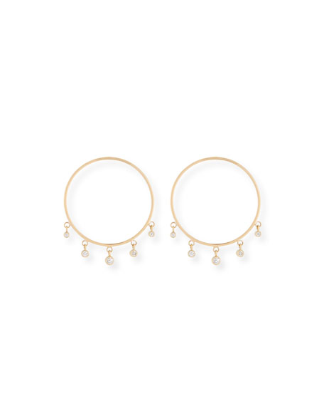14k Front-Facing Diamond Dangle Hoop Earrings