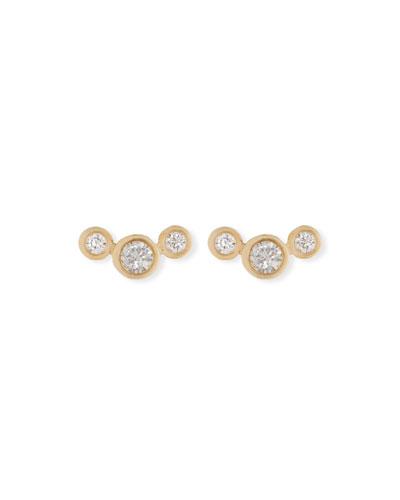 14k Curved Graduated Diamond Stud Earrings