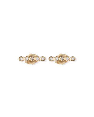 14k Tiny Straight Diamond Bar Stud Earrings