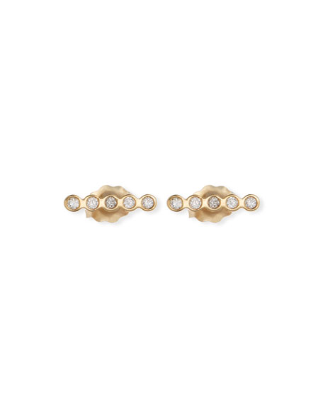 14k Tiny Straight Diamond Bar Stud Earrings