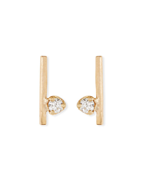 ZOË CHICCO Diamond & 14K Yellow Gold Stud Earrings in White/Gold