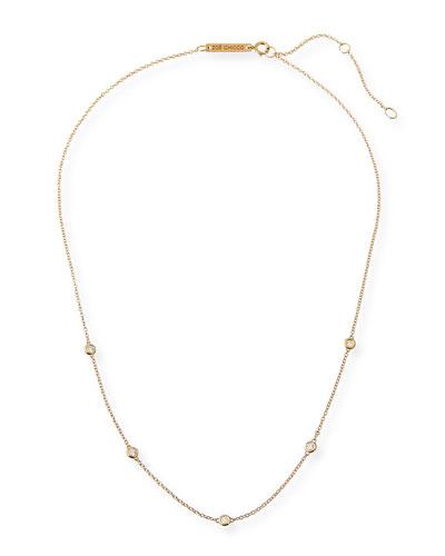 14k Floating Diamond Station Necklace