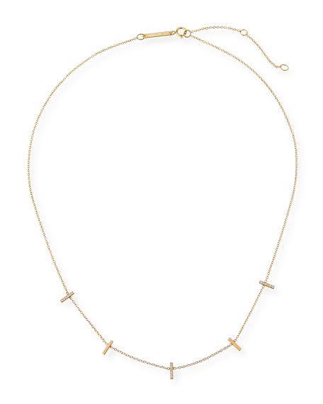 Zoe Chicco 14k Tiny Pave Bar Station Necklace