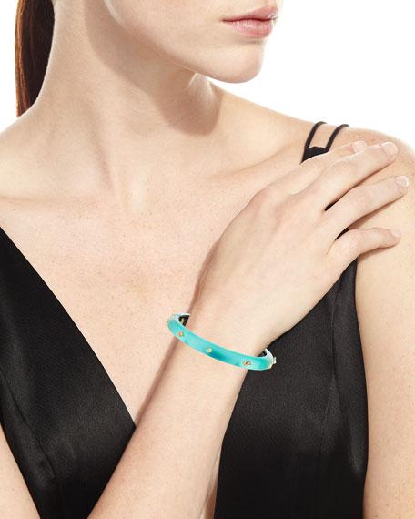 Golden Studded Hinge Bracelet, Mint Green
