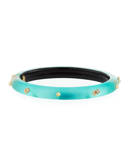 Golden Studded Hinge Bracelet, Mint Green