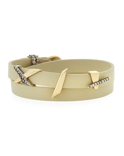 Crystal Encrusted Plaid Leather Wrap Bracelet