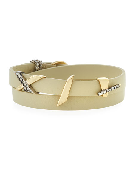 Alexis Bittar Crystal Encrusted Plaid Leather Wrap Bracelet