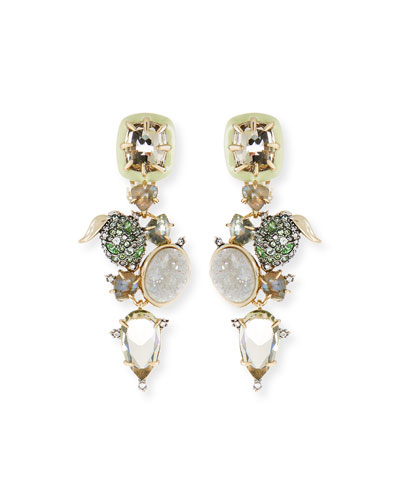 Crystal Encrusted Lime Cluster Clip-On Earrings
