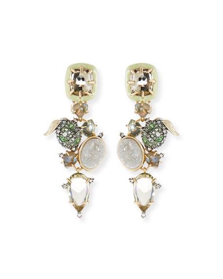 Alexis Bittar Crystal Encrusted Lime Cluster Clip-On Earrings