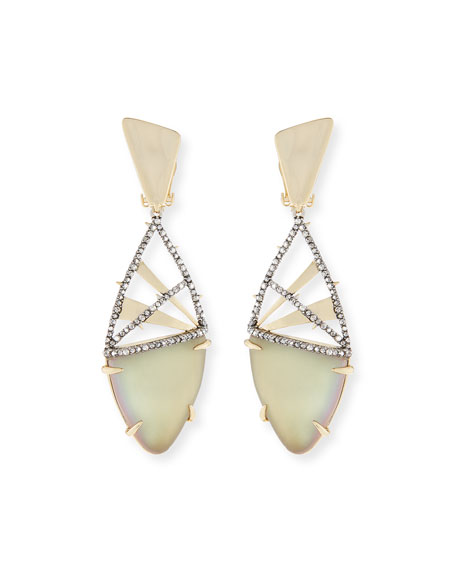 Alexis Bittar Crystal Encrusted Plaid Clip-On Earrings