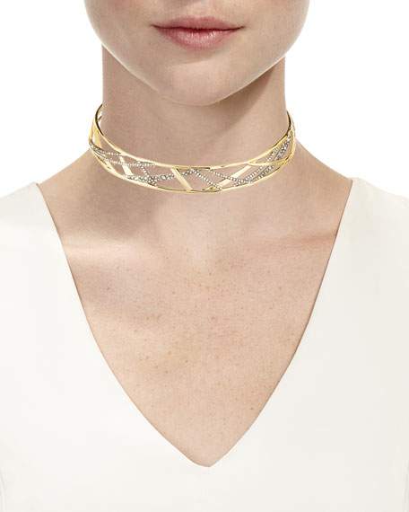 Crystal Encrusted Plaid Collar Necklace