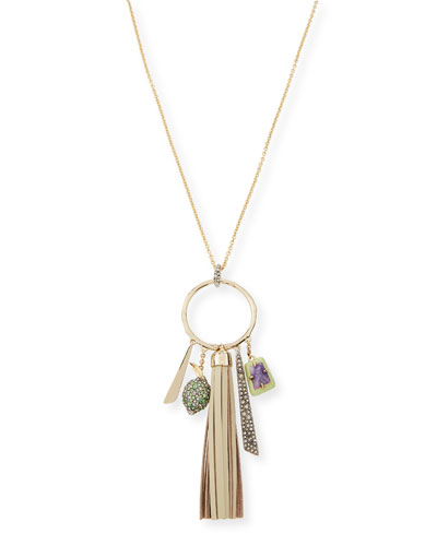 Crystal Encrusted Leather Tassel Pendant Necklace