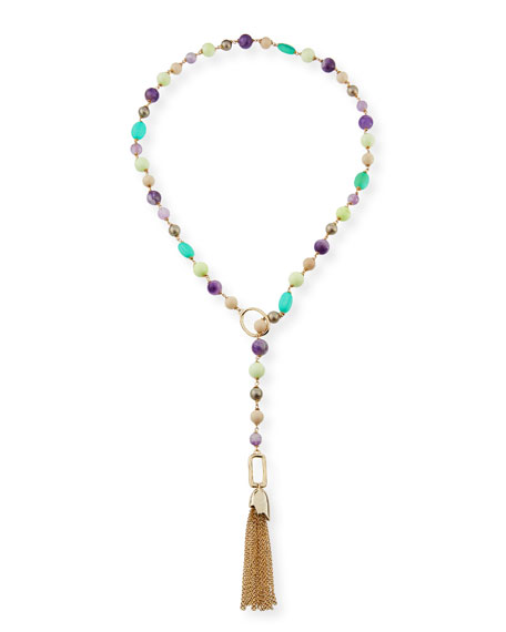 Alexis Bittar Beaded Lariat Tassel Necklace