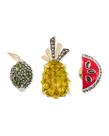 Fruit Pin Set w/ Crystals