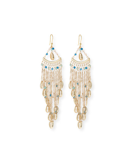 Antilla Puka Shell Fringe Drop Earrings