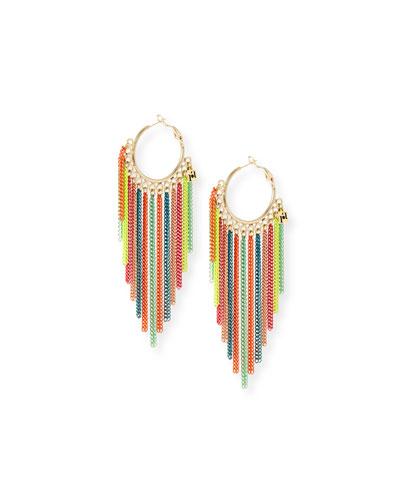 Millefili Neon Fringe Hoop Earrings