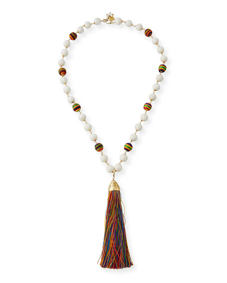 Arlecchino Rainbow Tassel Y-Drop Necklace