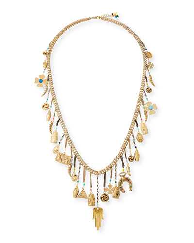 Malocchio Long Mixed Charm Necklace