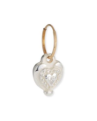14k Single Empire Heart Earring, Cubic Zirconia
