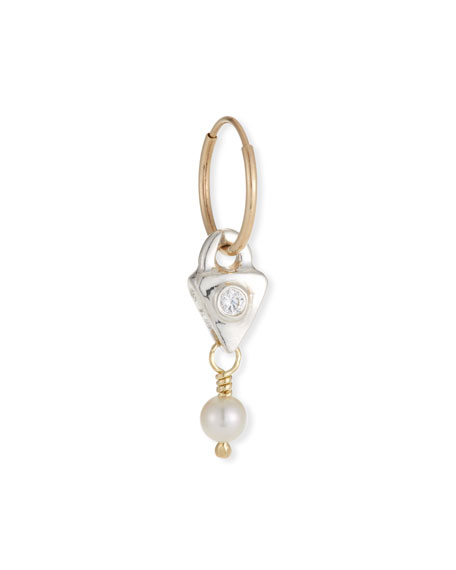 Lee Brevard Single Triangle Drop Earring w/ Pearl