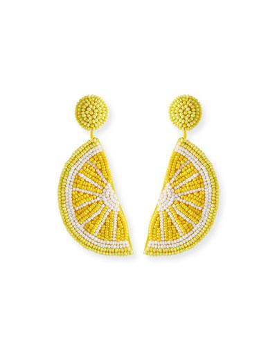 Lemon Seed Bead Dangle Earrings