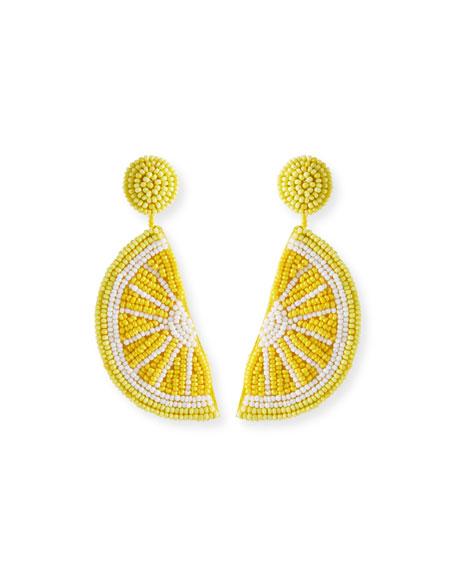 Kenneth Jay Lane Lemon Seed Bead Dangle Earrings
