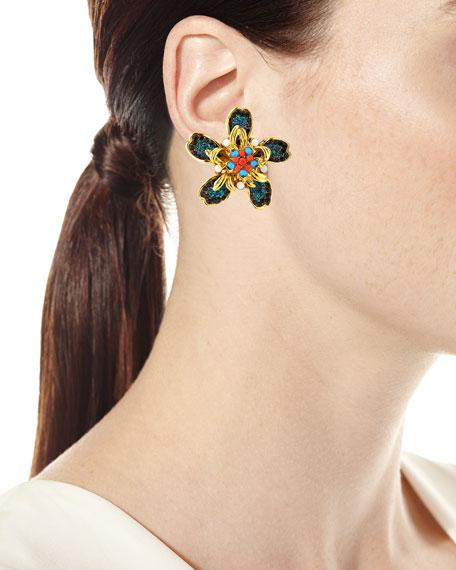 Bright Flower Clip-On Earrings