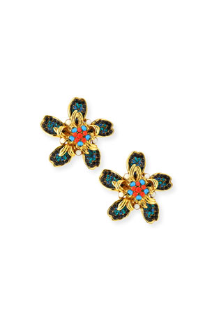Jose & Maria Barrera Bright Flower Clip-On Earrings