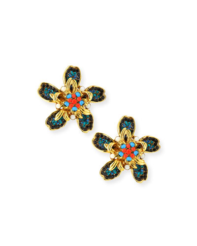 Bright Flower Clip-On Earrings