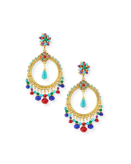 Jose & Maria Barrera Beaded Dangle Hoop Earrings
