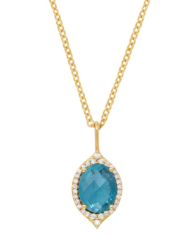 18k Oval Aladdin Pavé Necklace w/ Blue Topaz & Diamonds