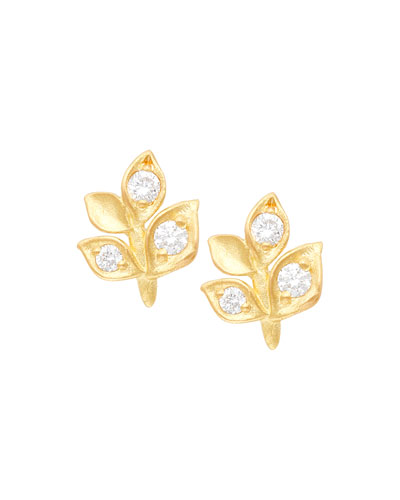 18k Diamond Leaf Stud Earrings