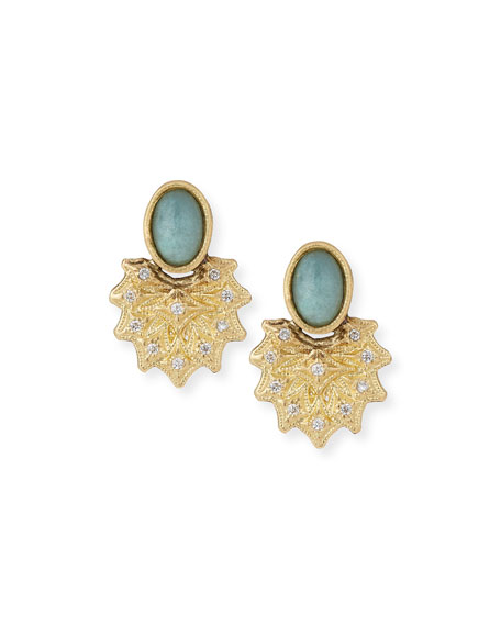 Armenta Old World 18k Starburst Aquaprase Stud Earrings
