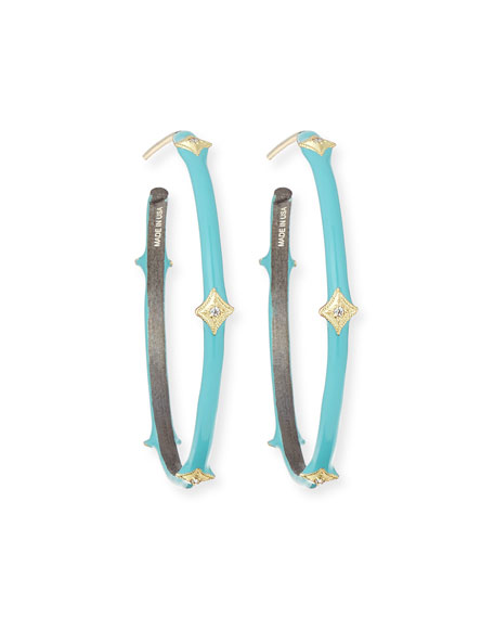 Armenta Old World 18k Turquoise Enamel Hoop Earrings